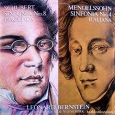 Discos de vinilo: SCHUBERT. SINFONÍA Nº 8, 'INACABADA' + MENDELSSOHN. SINFONÍA Nº 4, 'ITALIANA'. LEONARD BERNSTEIN. Lote 166312458