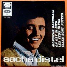 Discos de vinilo: SACHA DISTEL: MONSIEUR CANNIBALE + 3 - EP - EMI ODEON - 1966 - VG. Lote 166422678