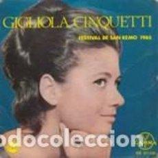 Discos de vinilo: EP GIGLIOLA CINQUETTI FESTIVAL DE SANREMO 1965+3 LABEL GAMMA MEXICO . Lote 166439798