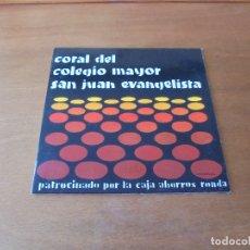 Discos de vinilo: CORAL UNIVERSITARIA SAN JUAN EVANGELISTA (MADRID). PATROCINADO POR CAJA DE AHORROS DE RONDA. Lote 166466654