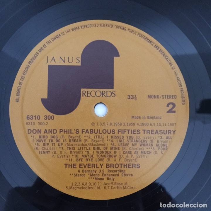 Discos de vinilo: LP - THE EVERLY BROTHERS - Fabulous fifties treasury - vinilo - Foto 3 - 166550604