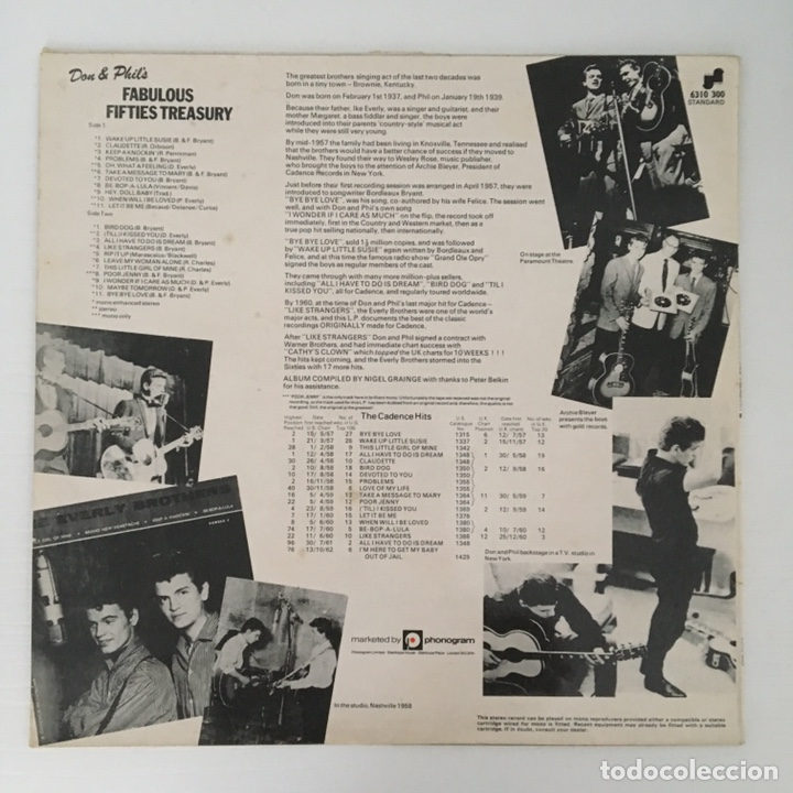 Discos de vinilo: LP - THE EVERLY BROTHERS - Fabulous fifties treasury - vinilo - Foto 4 - 166550604