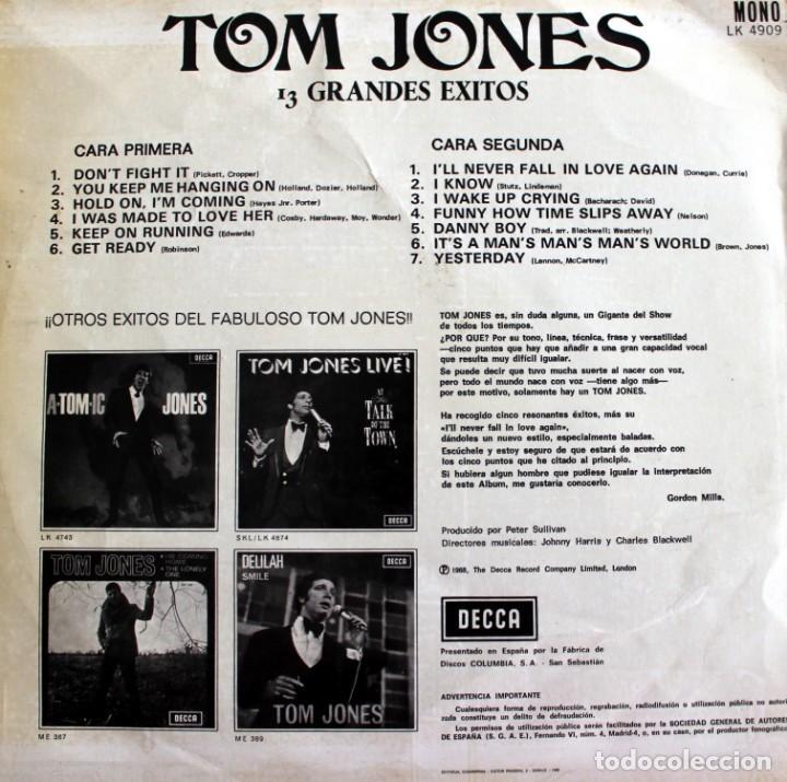 Discos de vinilo: Tom Jones vinilo LP 13 Smash Hits I'll Never Fall in Love Again DECCA 1967 - - Foto 2 - 166638750