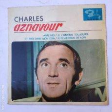 Discos de vinilo: EP CHARLES AZNAVOUR - AIME MOI - SE VENDE SÓLO PORTADA (SIN VINILO EN EL INTERIOR). Lote 166746174
