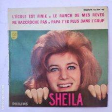 Discos de vinilo: EP SHEILA - L' ECOLE EST FINIE - SE VENDE SÓLO PORTADA (SIN VINILO EN EL INTERIOR). Lote 166746786