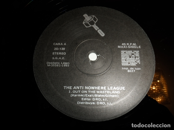 Discos de vinilo: THE ANTINOWHERE LEAGUE - OUT ON THE WASTELAND - Foto 3 - 166820150