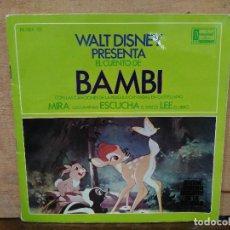 Discos de vinilo: WALT DISNEY PRESENTA EL CUENTO DE BAMBI - SINGLE DEL SELLO DISNEYLAND 1967. Lote 166993800
