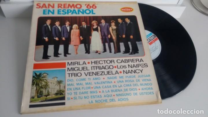 LP ( VINILO) SAN REMO 66 EN ESPAÑOL( MIRLA-LOS NAIPES-HECTOR CABRERA...) (Música - Discos - LP Vinilo - Otros Festivales de la Canción)