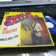 Discos de vinilo: EMILIO GALLEGO SINGLE LOS TITIRITEROS 1969. Lote 167048244
