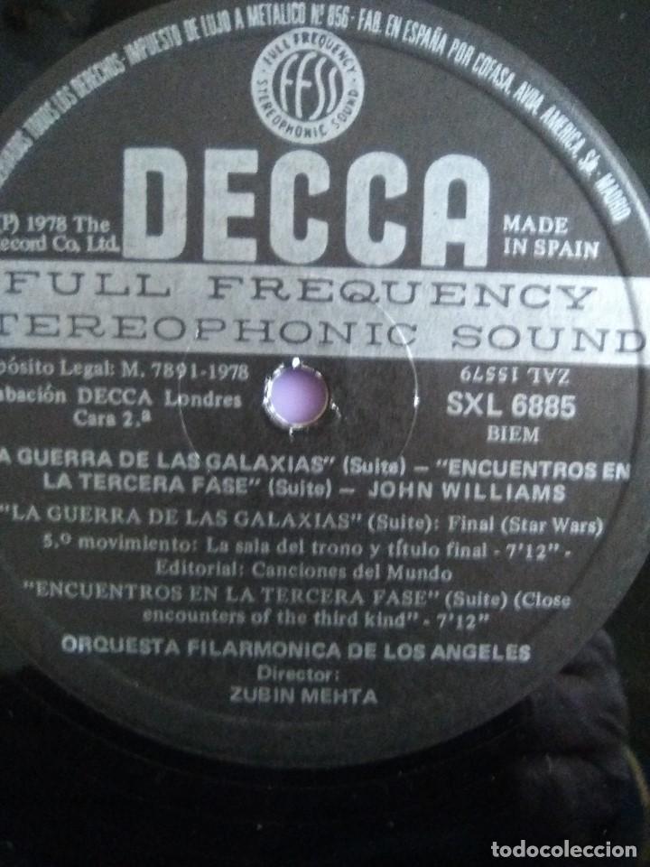 Discos de vinilo: LP JOHN WILLIAMS & ZUBIN MEHTA : SUITES LA GUERRA DE LAS GALAXIAS & ENCUENTROS EN LA TERCERA FASE - Foto 6 - 167069716