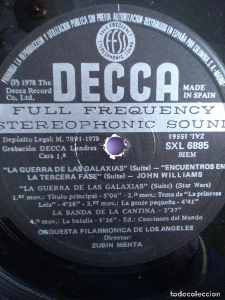 Discos de vinilo: LP JOHN WILLIAMS & ZUBIN MEHTA : SUITES LA GUERRA DE LAS GALAXIAS & ENCUENTROS EN LA TERCERA FASE - Foto 7 - 167069716