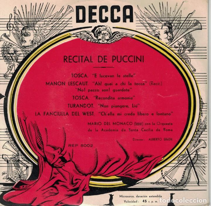 MARIO DEL MONACO - RECITAL DE PUCCINI (EP ESPAÑOL, DECCA SIN FECHA) (Música - Discos de Vinilo - EPs - Clásica, Ópera, Zarzuela y Marchas)