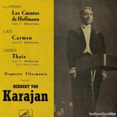 Discos de vinilo: KARAJAN CON LA ORQUESTA FILARMONIA (LOS CUENTOS DE HOFFMANN, CARMEN, THAIS). Lote 167101684