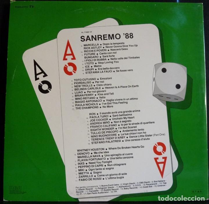 Discos de vinilo: SANREMO 88 // DISCO Y PORTADA DOBLE // 1988 // (VG VG). MADE IN ITALY. LP - Foto 2 - 167292132