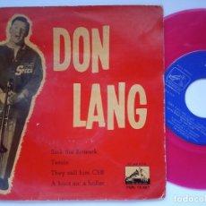Discos de vinilo: DON LANG - SINK THE BISMARK - EP 1960 - LA VOZ DE SU AMO - VINILO ROSA. Lote 167412776
