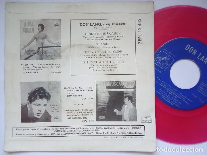 Discos de vinilo: DON LANG - sink the bismark - EP 1960 - LA VOZ DE SU AMO - VINILO ROSA - Foto 2 - 167412776
