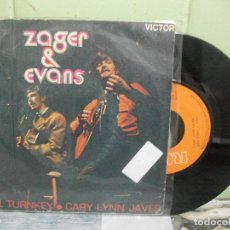 Discos de vinilo: ZAGER & EVANS MR.TURNKEY SINGLE SPAIN 1965 PDELUXE. Lote 167454096