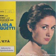 Disques de vinyle: 45 GIRI SIEGERIN VON SANREMO UND CKOPENHAGEN 64 VG++VG++ ITALIA LABEL NON HO L'ETA' . Lote 167514028