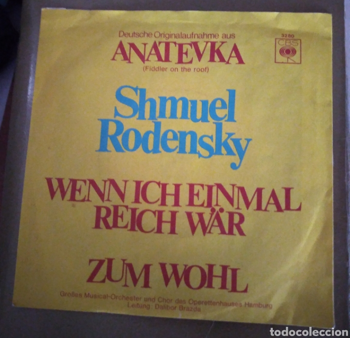 SHMUEL RODENSKY - ANATEVKA ( FIDDLER ON THE ROOF ). BSO (Música - Discos - Singles Vinilo - Bandas Sonoras y Actores)