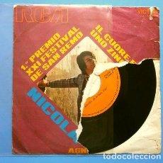 Discos de vinilo: NICOLA DI BARI (SINGLE 1971) IL CUORE E' UNO ZINGARO - 1º PREMIO XXI FESTIVAL DE SAN REMO SANREMO. Lote 167537204
