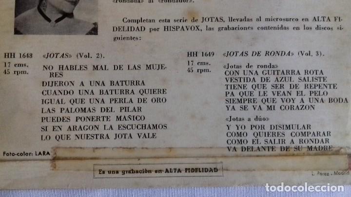 Discos de vinilo: JOTAS - VOL. 1 - CANTA ENCARNITA RODRÍGUEZ single - Foto 3 - 167546280