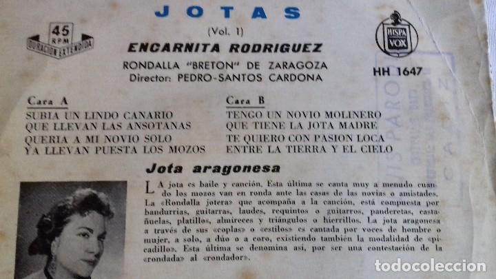 Discos de vinilo: JOTAS - VOL. 1 - CANTA ENCARNITA RODRÍGUEZ single - Foto 4 - 167546280