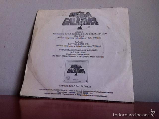 Discos de vinilo: BSO. STAR WARS. ( TEMA CENTRAL) SINGLE( 2 temas ). 1977 - Foto 2 - 167567768