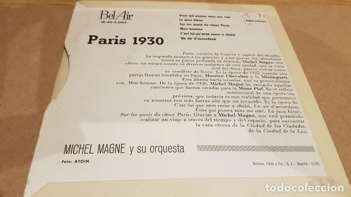 Discos de vinilo: MICHEL MAGNE Y SU ORQUESTA / PARÍS 1930 / EP - BEL AIR-1960 / MBC. ***/*** - Foto 2 - 167580324