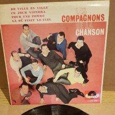 Discos de vinilo: LES COMPAGNONS DE LA CHANSON / DE VILLE EN VILLE / EP - POLYDOR-1963 / MBC. ***/***. Lote 167580760