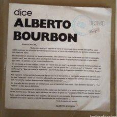 Discos de vinilo: DICE ALBERTO BOURBON / DICE JUAN ERASMO MOCHI. PROMOCIONAL. Lote 167586284
