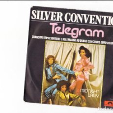 Discos de vinilo: SILVER CONVECTION TELEGRAM ALLEMAGNE 77 CHANSON REPRESENTANT AU CONCOURS EUROVISION MADE IN FRANC. Lote 167589120
