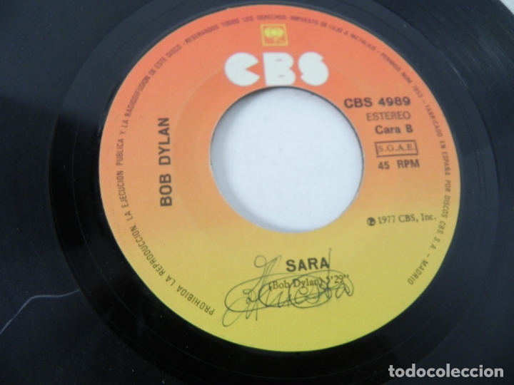 Discos de vinilo: SINGLE BOB DYLAN (ROMANCE DURANGO) CBS 1977 - Foto 6 - 167650432