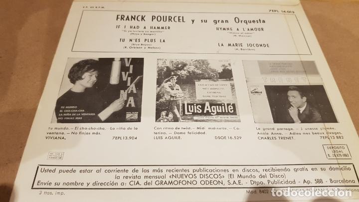 Discos de vinilo: FRANK POURCEL Y SU GRAN ORQUESTA / IF I HAD A HAMMER / EP-VOZ DE SU AMO-1963 / MBC. ***/*** - Foto 2 - 167723996