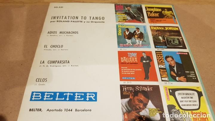 Discos de vinilo: ROLAND PALETTE Y SU ORQUESTA / INVITATION TO TANGO / EP - BELTER-.1960 / MBC. ***/*** - Foto 2 - 167726412