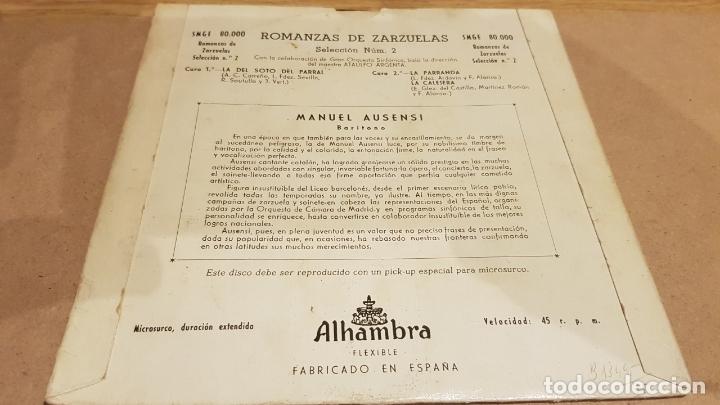 Discos de vinilo: MANUEL AUSENSI / ROMANZAS DE ZARZUELAS Nº 2 / EP - ALHAMBRA / LEVES MARCAS. ***/** - Foto 2 - 167738080