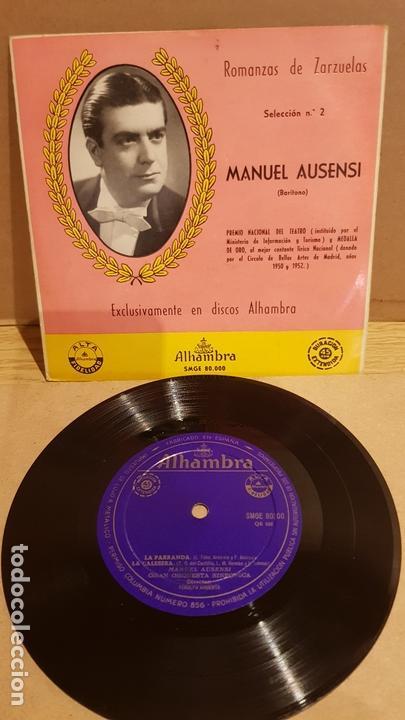 MANUEL AUSENSI / ROMANZAS DE ZARZUELAS Nº 2 / EP - ALHAMBRA / LEVES MARCAS. ***/** (Música - Discos de Vinilo - EPs - Clásica, Ópera, Zarzuela y Marchas)