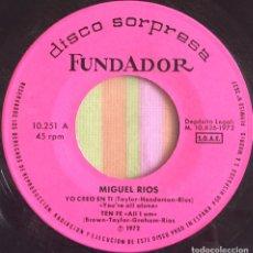 Discos de vinilo: MIGUEL RIOS EP DISCO SORPRESA FUNDADOR 4 CANCIONES EXC. Lote 167808608