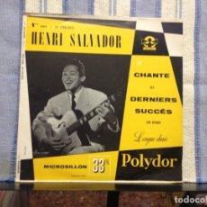 Discos de vinilo: HENRI SALVADOR - CHANTE SES DERNIERS SUCCÈS ALBUM 10' MADE IN FRANCE 1955 (NEW) ORIGINAL. Lote 167915400