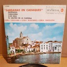 Discos de vinilo: COBLAS CARAVANA-MONTGRINS Y BARCELONA / SARDANAS EN CADAQUÉS / EP - RCA-VICTOR-1963 / MBC. ***/***. Lote 167925408