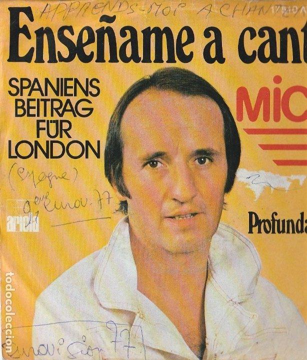 MICKY ENSEÑAME A CANTAR SPANIENS BEITRAG FUR LONDON 1977 COVER USED ONWR VG--- VG GERMANY (Música - Discos de Vinilo - Maxi Singles - Festival de Eurovisión)