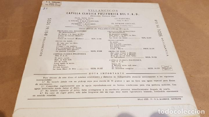 Discos de vinilo: VILLANCICOS / CAPILLA POLIFÓNICA DEL F.A.D. / EP - REGAL1958 / MBC. ***/*** - Foto 2 - 168047672