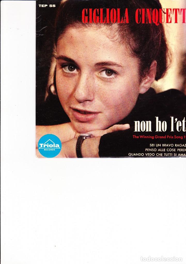 GIGLIOLA CINQUETTI EP NON HO L'ETA' THE WINNING GRANDPRIX SONG 1964 MADE IN SWEDEN TRIOLA (Música - Discos de Vinilo - Maxi Singles - Festival de Eurovisión)