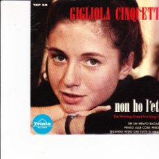 Discos de vinilo: GIGLIOLA CINQUETTI EP NON HO L'ETA' THE WINNING GRANDPRIX SONG 1964 MADE IN SWEDEN TRIOLA . Lote 168049892
