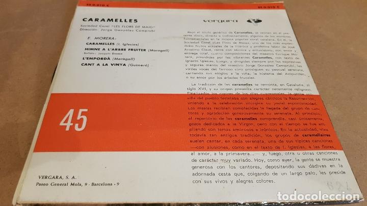 Discos de vinilo: CORAL LES FLORS DE MAIG / CARAMELLES / EP - VERGARA-1962 / MBC. ***/*** - Foto 2 - 168051280