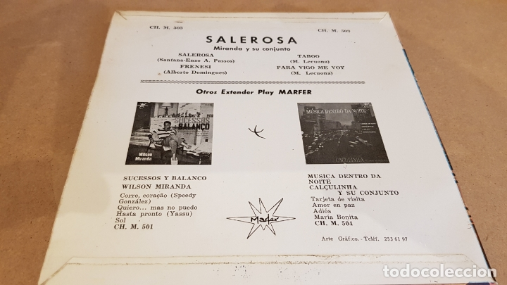 Discos de vinilo: MIRANDA E SEU CONJUNTO / SALEROSA / EP - MARFER-1963 / MBC. ***/*** - Foto 2 - 168057300