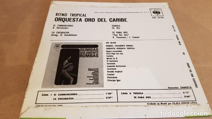 Discos de vinilo: ORQUESTA ORO DEL CARIBE / RITMO TROPICAL / EP - CBS-1964 / MBC. ***/*** - Foto 2 - 168086496
