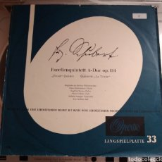 Discos de vinilo: D. SCHUBERT, MITGLIEDER DER BERLINER PHILHARMONIKER. FORELLENQUINTETT A- DUR OP. 114 TROUT .... Lote 168105313