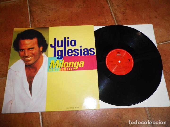 JULIO IGLESIAS MILONGA SENTIMENTAL REMIXES MAXI SINGLE VINILO PROMO DEL AÑO 1992 CONTIENE 3 TEMAS (Música - Discos de Vinilo - Maxi Singles - Solistas Españoles de los 70 a la actualidad)