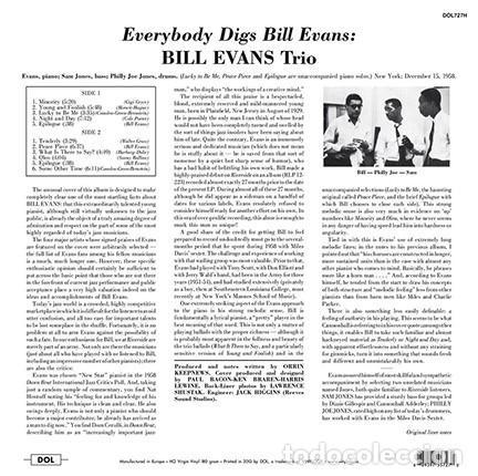 Discos de vinilo: Bill Evans Trio * LP HQ Virgin Vinyl 180g * Everybody Digs Bill Evans * Precintado!! - Foto 2 - 168187112