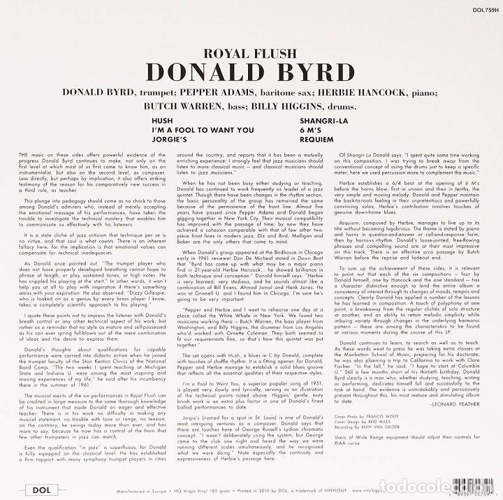 Discos de vinilo: Donald Byrd ( Herbie Hancock ) * LP HQ Virgin Vinyl 180g * Royal Flush * Precintado!! - Foto 2 - 168189896